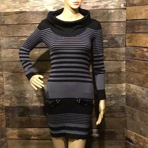 Striped Fitted Sweater Dress
